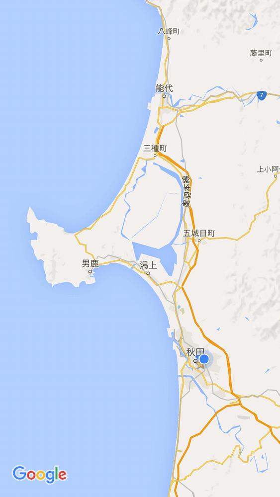 男鹿半島の地図
