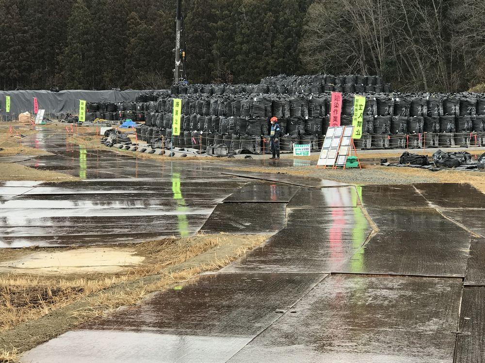 南相馬市小高区の除染廃棄物仮置き場