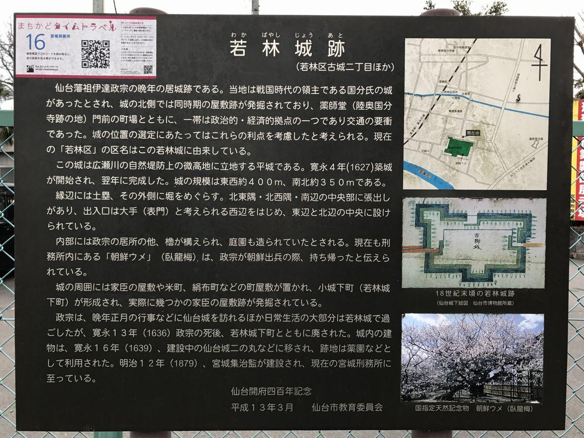 若林城跡の史跡案内文