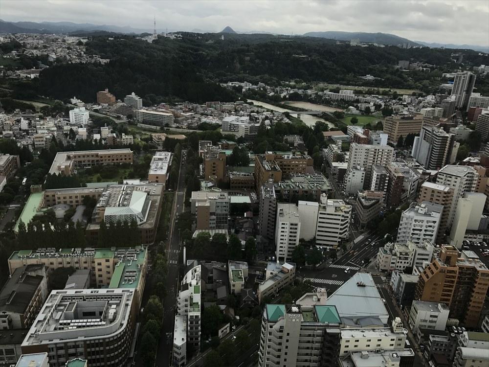 ウェスティンホテル仙台から青葉城方面の眺め