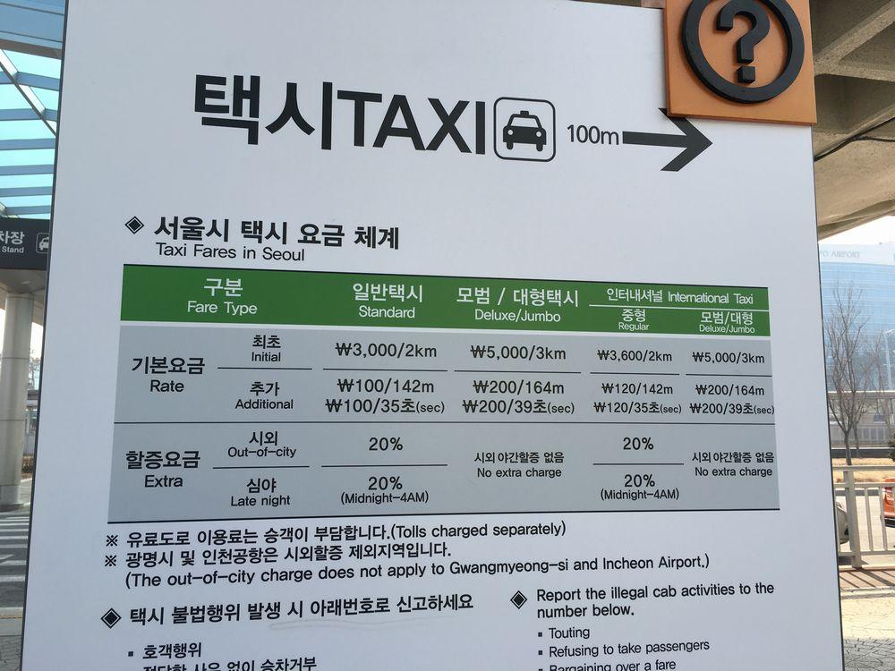 ソウルのタクシーの料金表