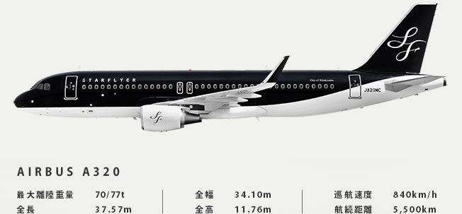 スターフライヤーの黒いAIRBUS A320型機