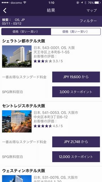 シェラトン都ホテルの無料宿泊に必要なスターポイント数