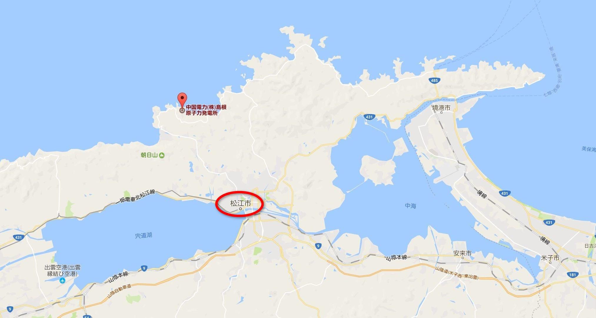 松江市と島根原発の位置関係