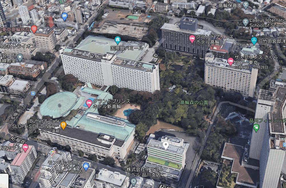 品川にある3つのプリンスホテルのグーグルマップ