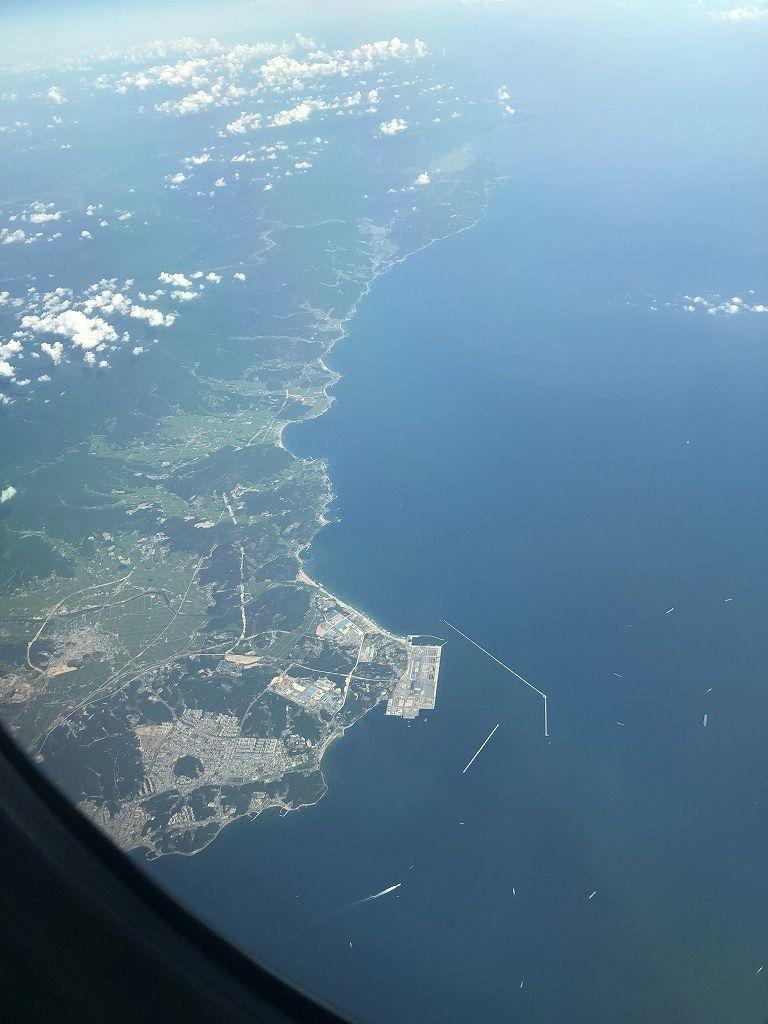 朝鮮半島上空に出るANA861便
