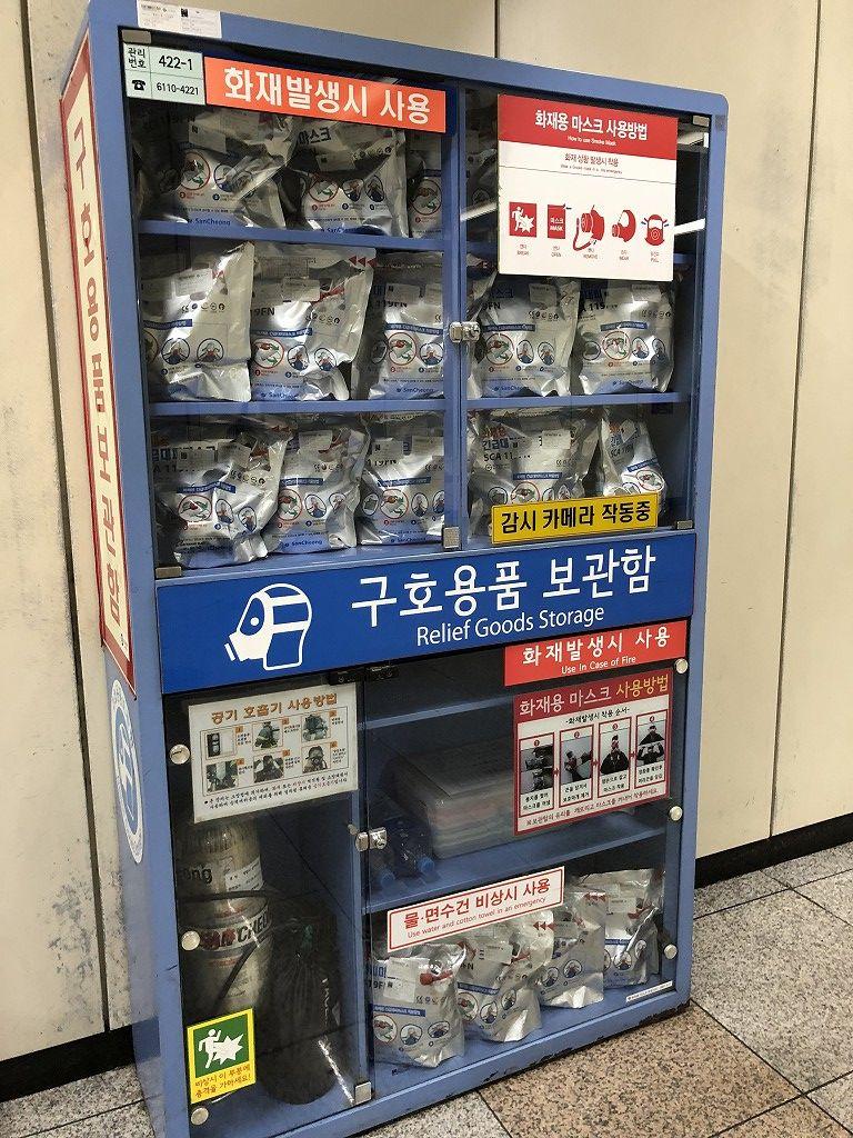 ソウル地下鉄の毒ガス用のマスク