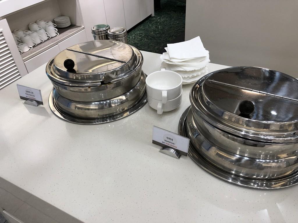 ソウル金浦空港のSKY HUB LOUNGEのスープ