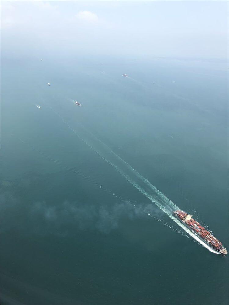 SQ631便からシンガポール海峡