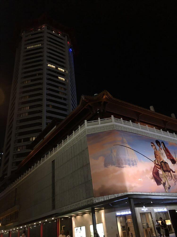 シンガポール マリオット タン プラザ ホテルの外観(夜)