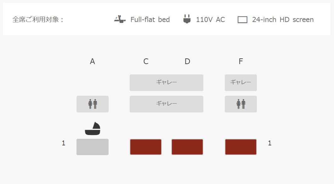 羽田-シンガポールのファーストクラス特典航空券の座席指定