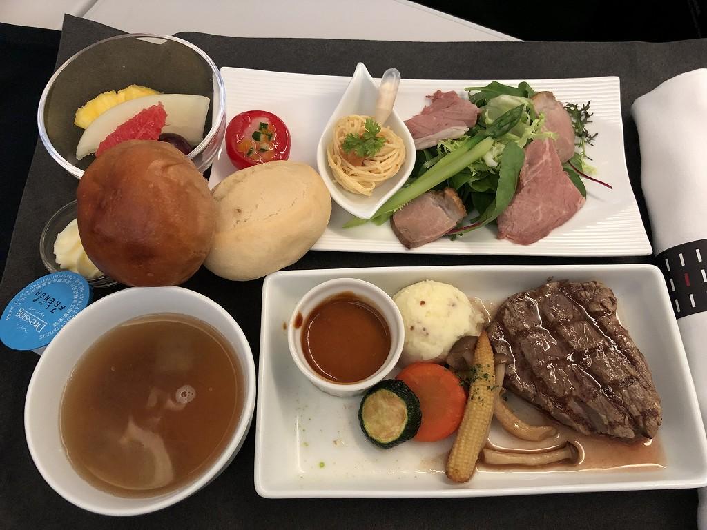 JAL29便ビジネスクラスの洋食の機内食1
