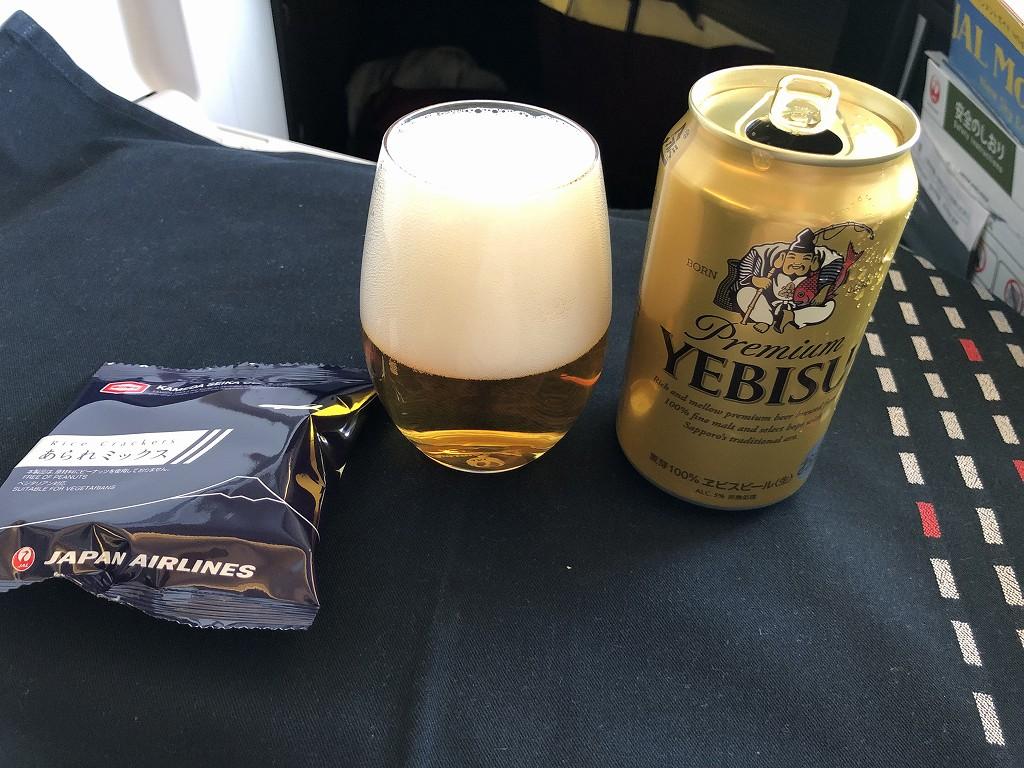 JAL26便ビジネスクラスのエビスビール