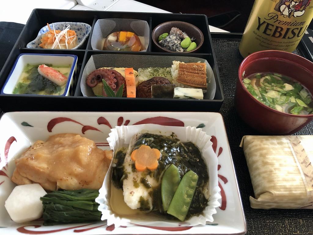 JAL26便ビジネスクラスの和食の機内食1