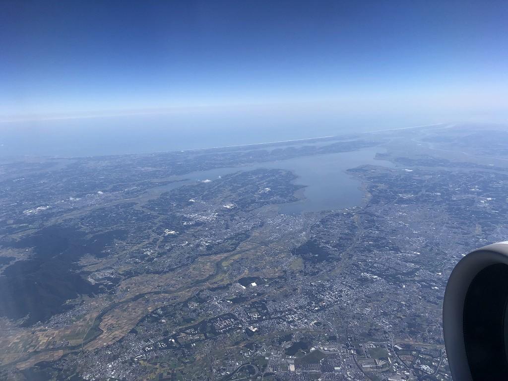 ANA395便から見た霞ヶ浦