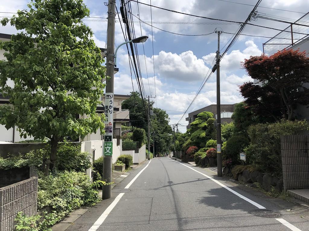 水道道路の仙川に向かっての下り坂1