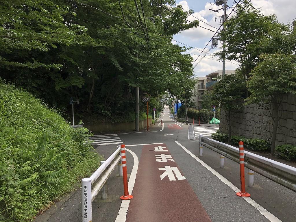 水道道路の仙川に向かっての下り坂2