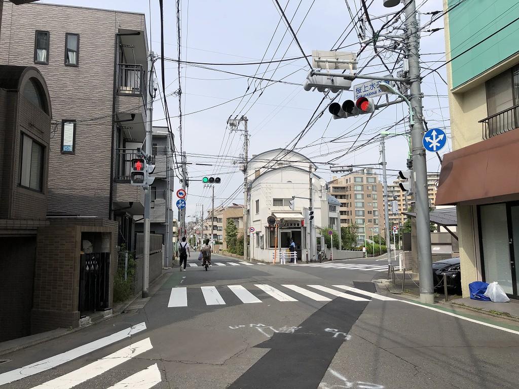 桜上水交番の七叉路