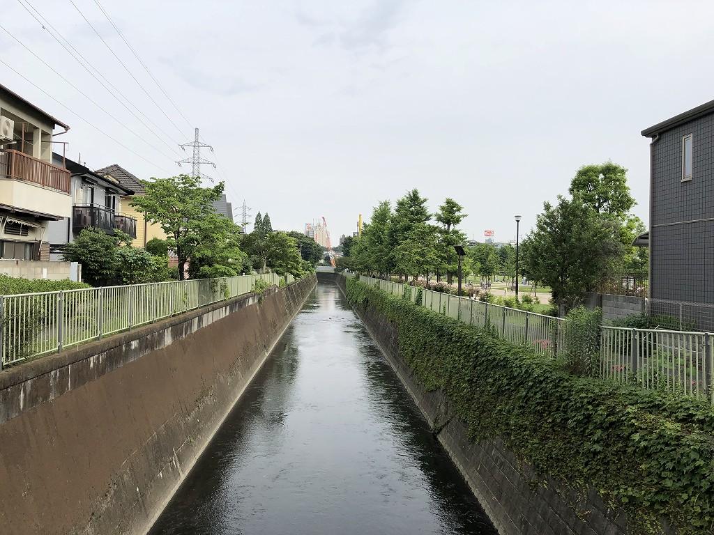 荒玉水道道路と神田川のクロス