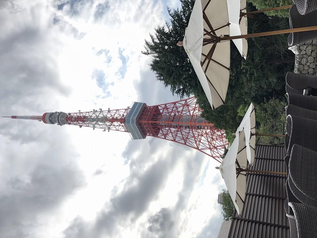 東京プリンスホテルのタワービューテラスから東京タワー