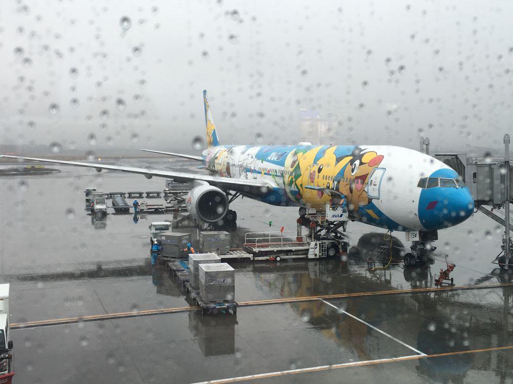 新千歳空港に到着したANA55便