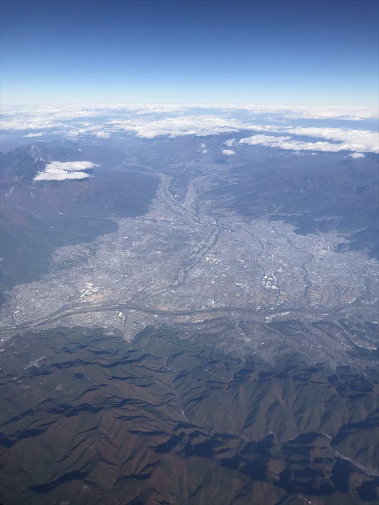 富士山北側から見た甲府盆地