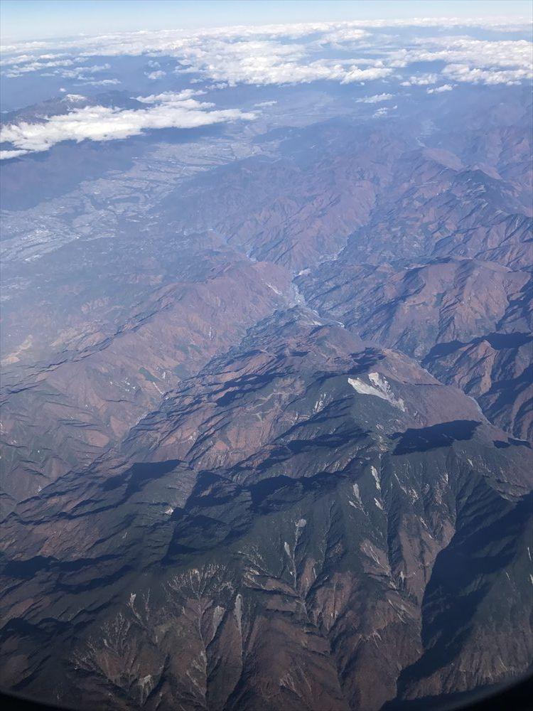 飛行機から見た南アルプスの紅葉