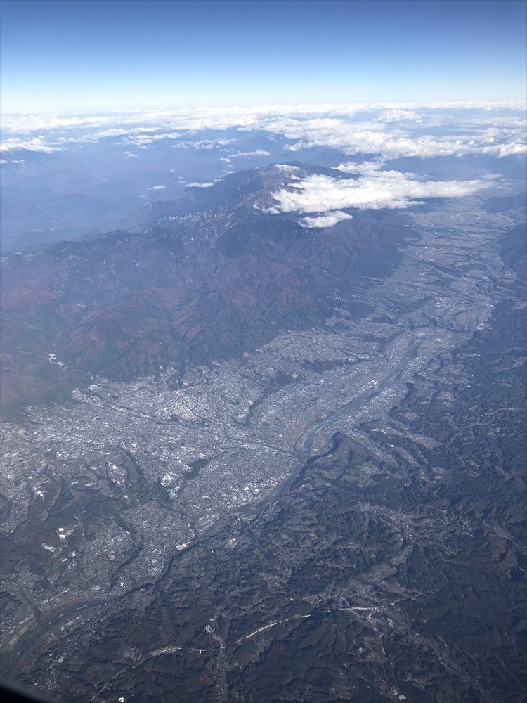 飛行機から見た伊那谷