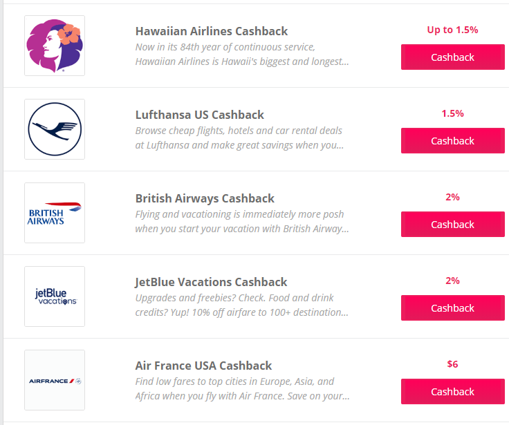 TopCashback経由での航空会社航空券のキャッシュバック率