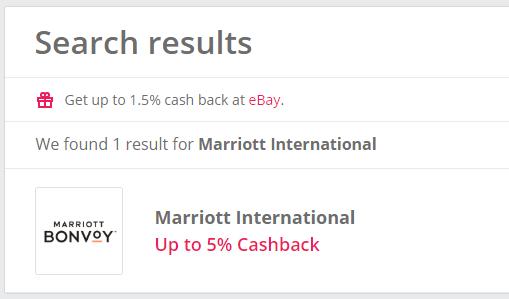 TopCashbackでのMarriott Internationalの検索結果1