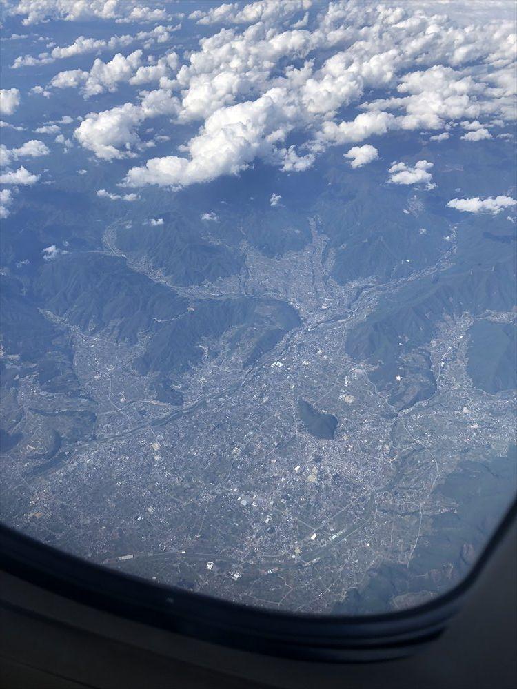 ANA1101便から見た甲府盆地