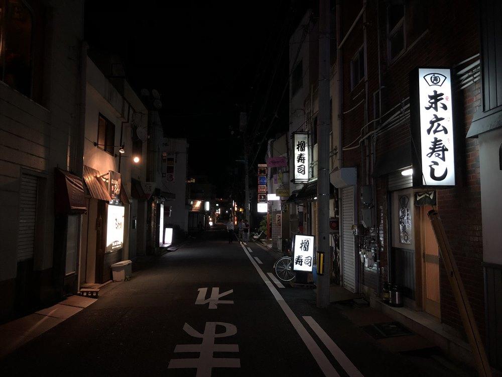 鳥取市内の暗い繁華街1