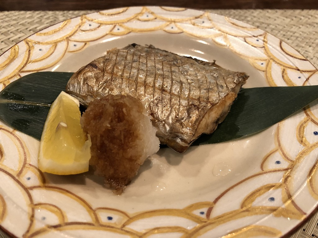 豊田市の割烹 なり田の太刀魚の塩焼き
