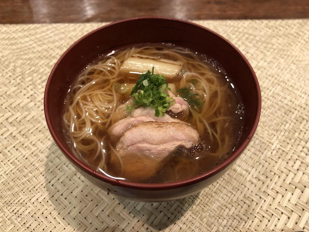 豊田市の割烹 なり田の鴨とネギの柔麺