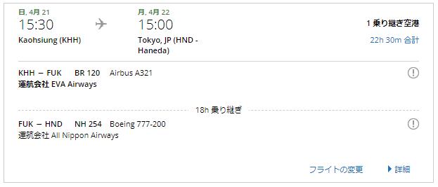 BR120便とNH254便