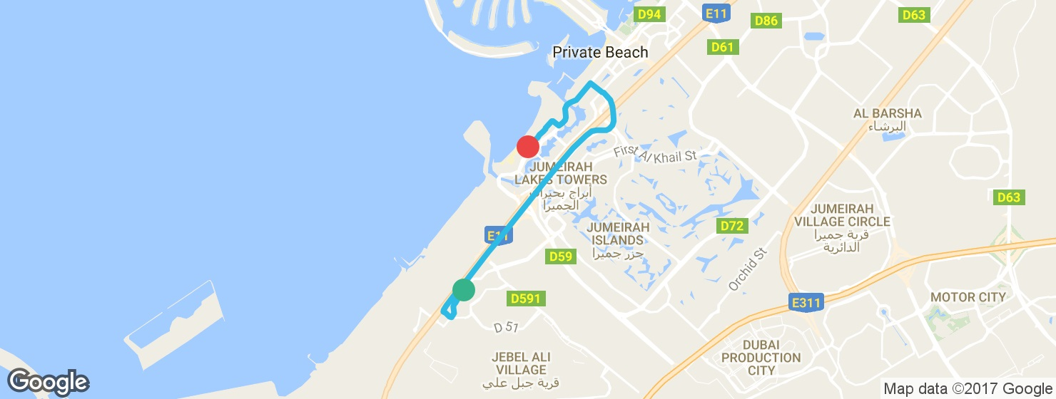 Uberでイブン・バトゥータ・モールからJBRビーチへ移動