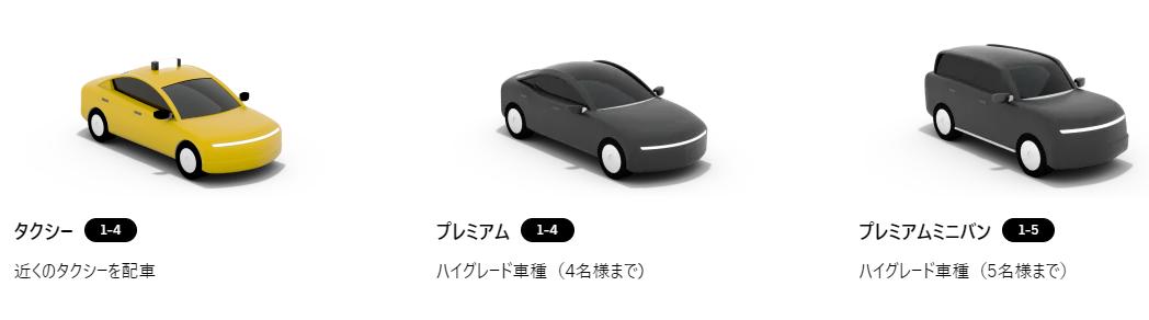 Uber Taxiの車種選択