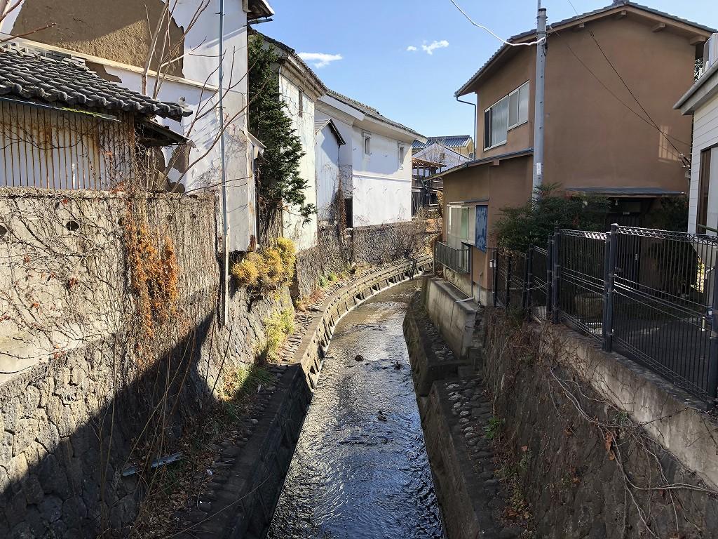 上田市の蛭沢川と土蔵
