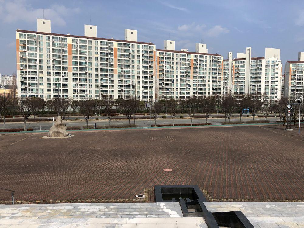 蔚山文殊サッカー競技場のバス停の位置1(蔚山市外バスターミナル方面)
