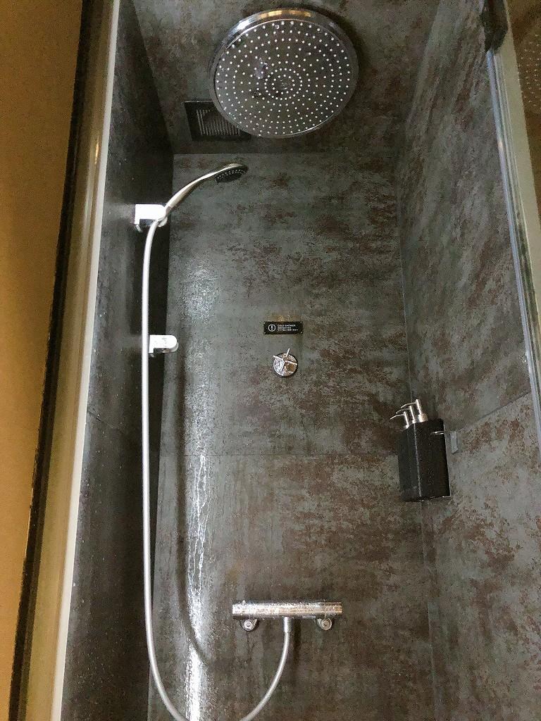 ソロサウナtuneの冷水レインシャワー