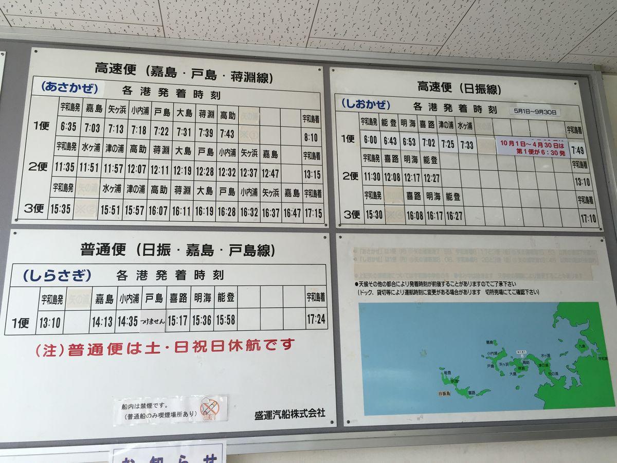宇和島港から日振島への時刻表