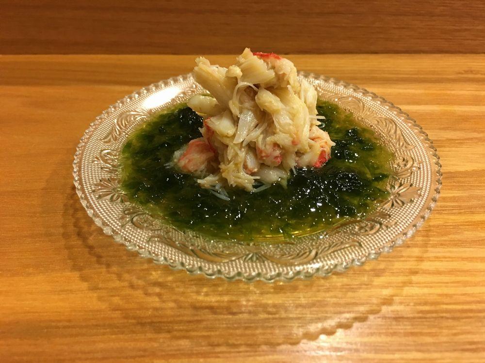 義心の毛蟹の青海苔ソース