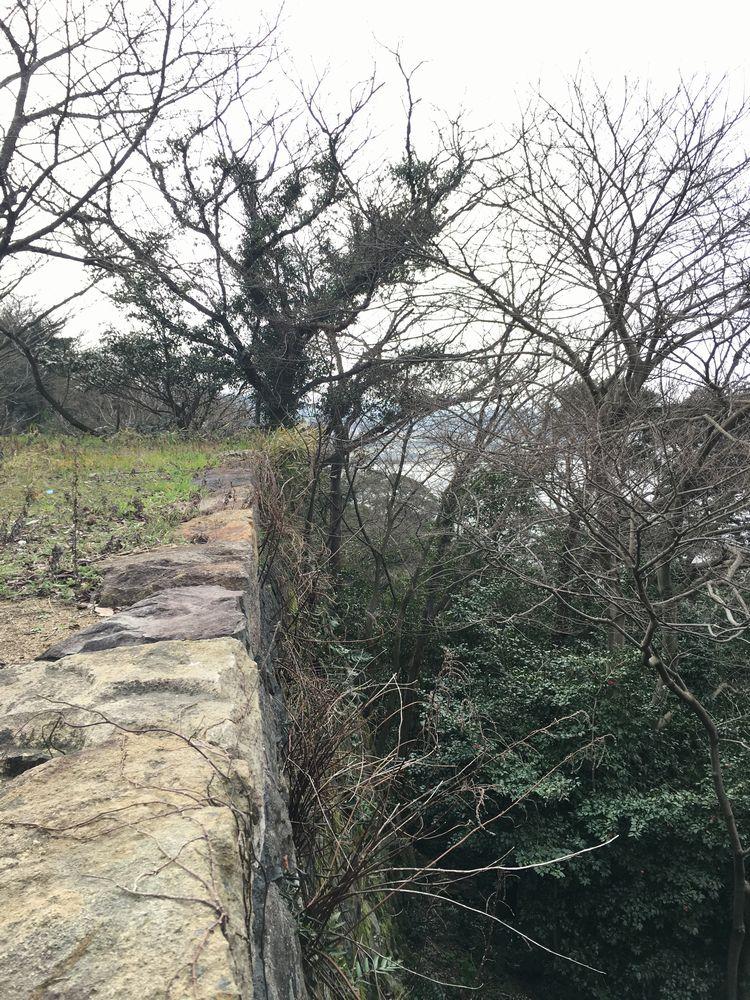 米子城跡の遠見櫓の崖