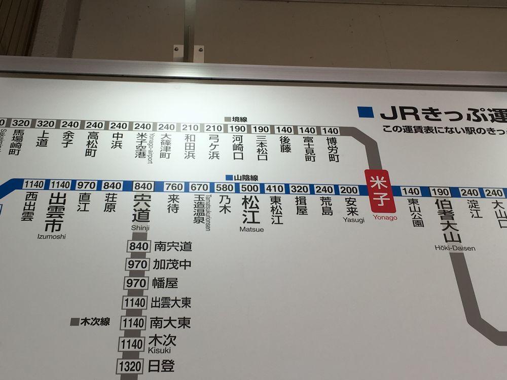 米子駅から松江駅までの運賃