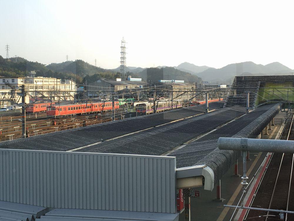 米子駅の跨線橋からの眺め