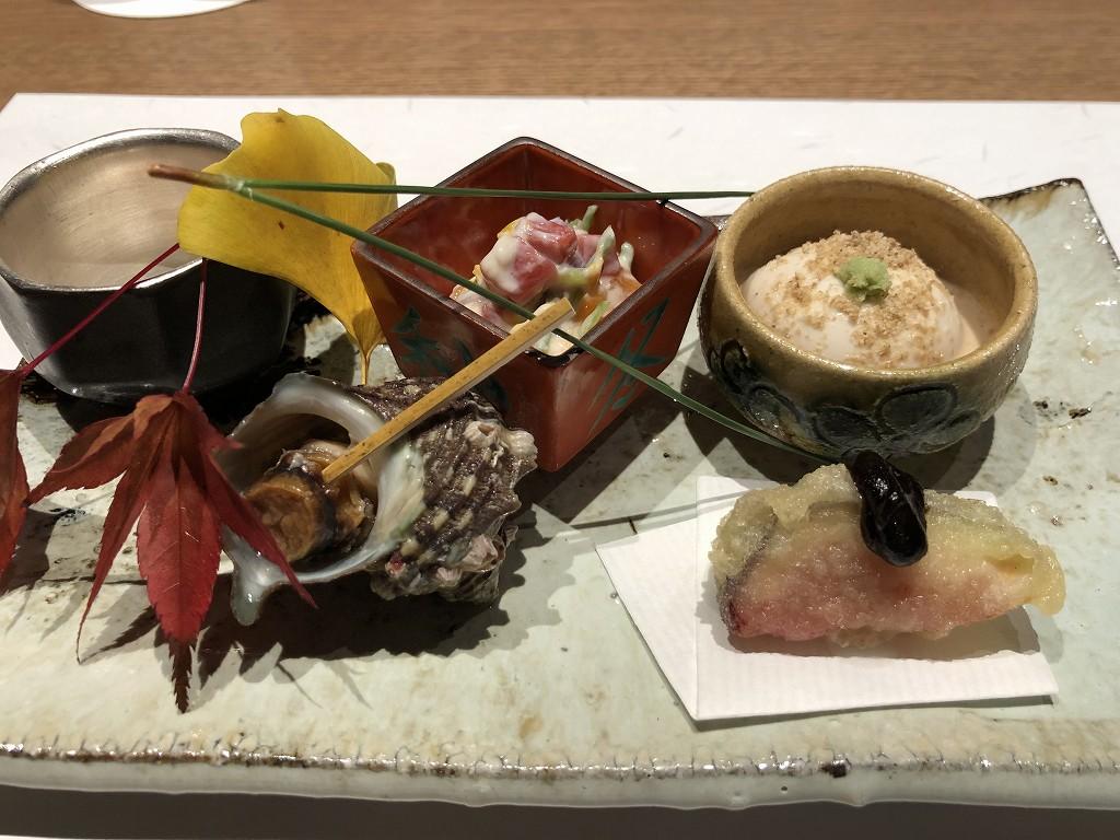 由縁別邸 代田の「割烹 月かげ」の晩飯の前菜1
