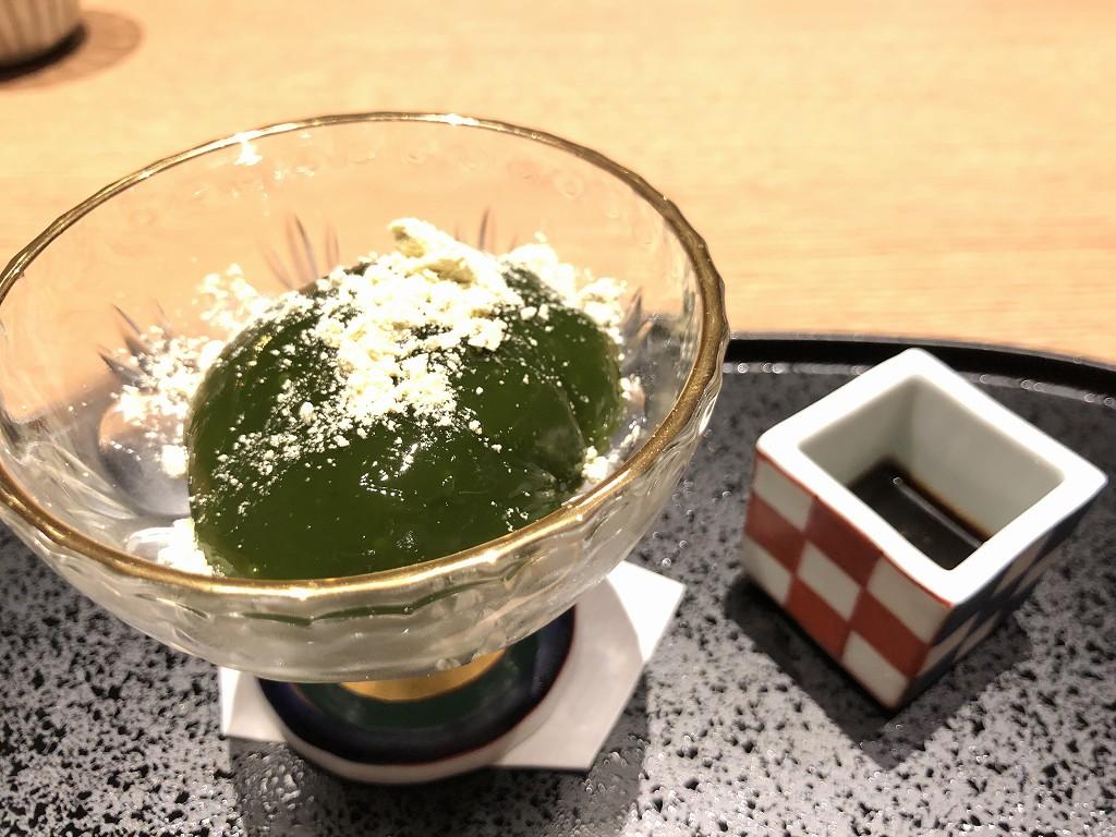由縁別邸 代田の「割烹 月かげ」の晩飯の抹茶のゼリー