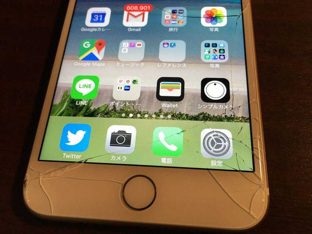 液晶ひび割れiPhone