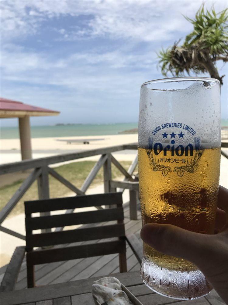 美らSUNビーチでオリオンビール