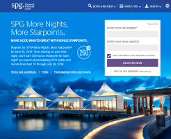 「SPG More Nights, More Starpoints」ボーナスポイントキャンペーン